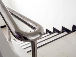 Metal railing. Stainless steel handrail.