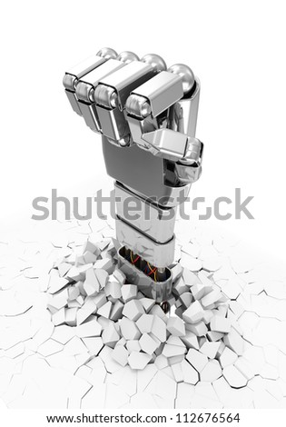 Metal Robotic Hand Breaking Through From Floor