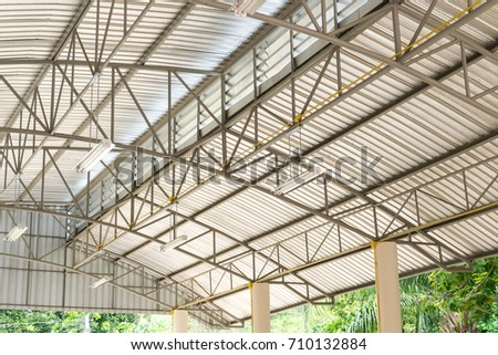 metal roofing construction of modern building complex #710132884
