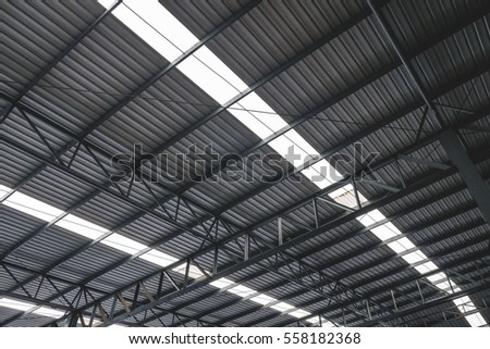 Metal roofing on commercial construction of modern building complex #558182368