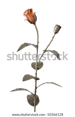 Metal rose and bud isolated on white