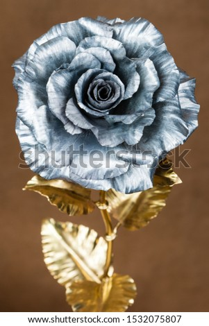 metal rose as symbol of eternal love