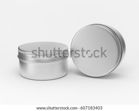 Metal round tin, cosmetic box, aluminun packaging 3d rendering