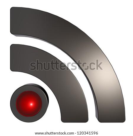metal rss symbol on white background - 3d illustration