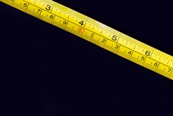 Metal ruler and Tape measure centimeters and millimeters on the yellow ruler. Sizes and numbers on the black board
