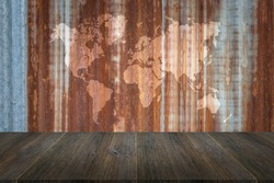 Metal rust or steel zinc wall texture abstract texture surface background use for background with wood table or terrace and world map