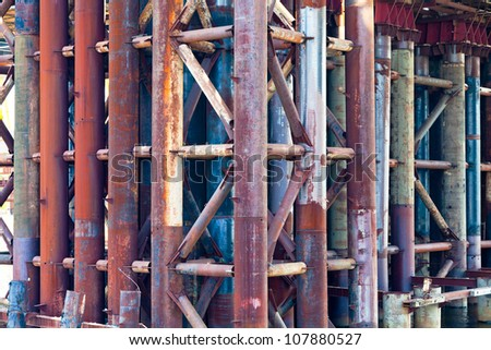 metal rust pipes in old bridge