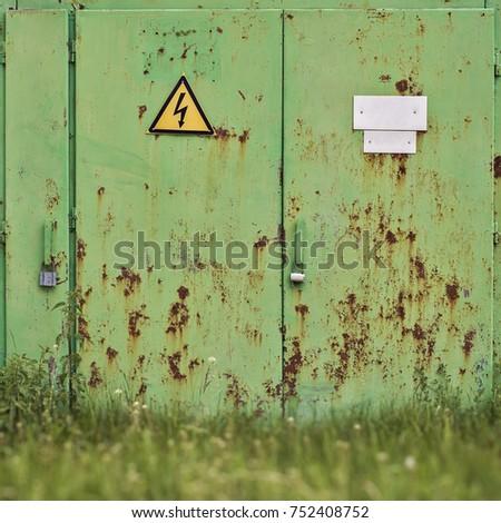 metal rusty green door with...