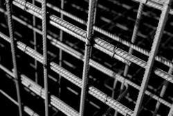 Metal rusty reinforcement bars. Reinforcing steel bars for building armature