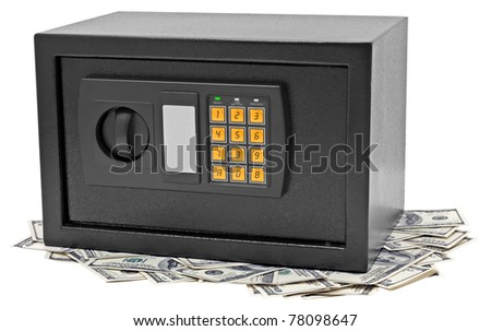 Metal safe is on hundred dollar bill. Isolated on white.