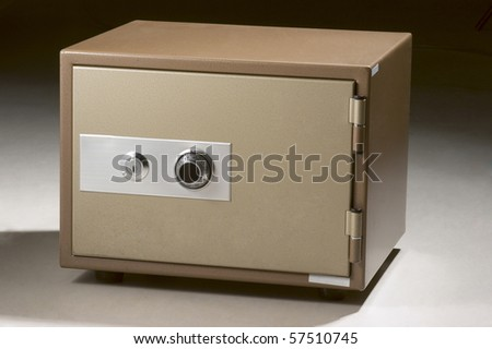 Metal Safe on a white background- with precise clipping path work. - stock photo