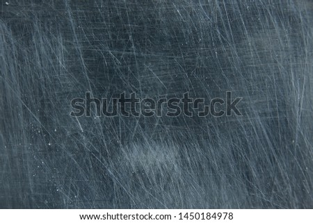metal scratches blue background abstract / empty blank frame scratches on metal #1450184978
