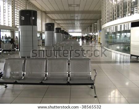 Metal seats at Manila airport waiting area