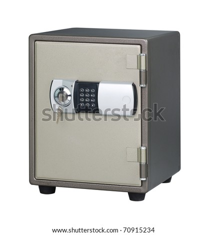 Metal security safe isolated on white