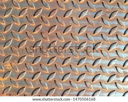 Metal sheet texture background, Steel checker plate metal sheet.Rust sheet