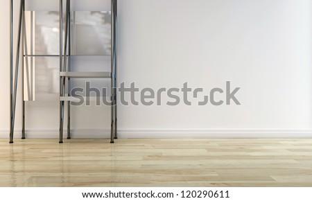 metal shelf in a modern room