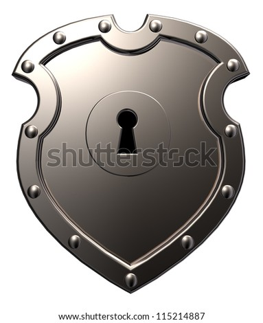 metal shield with keyhole on white background - 3d illustration
