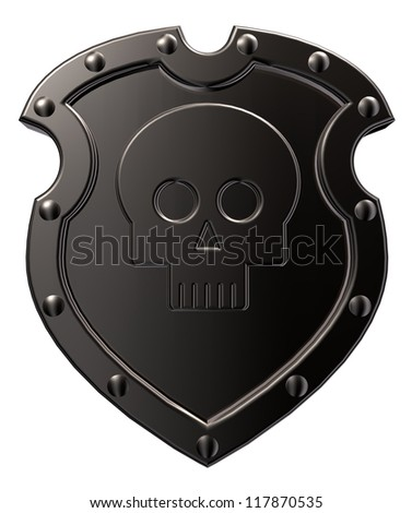metal shield with skull symbol on white background - 3d illustration