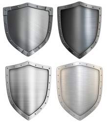 Metal shields set isolated. Mixed media.