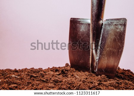 Metal shovel stuck in the ground on the pink background