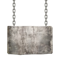 Metal sign hanging on a chain, isolated.