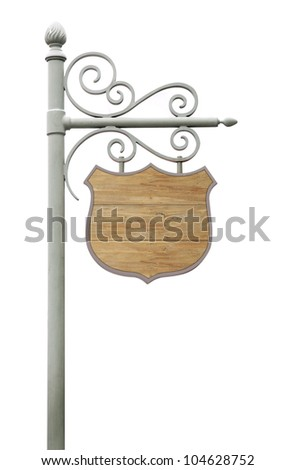 Metal Sign on street pole. Isolated on white