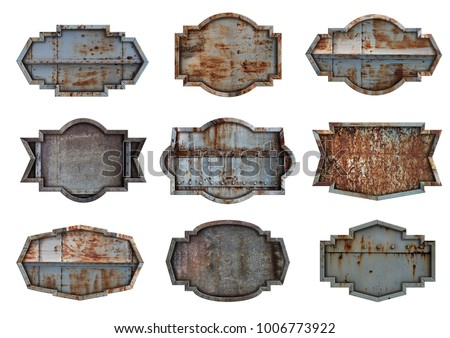 Metal sign plate texture background isolated on white