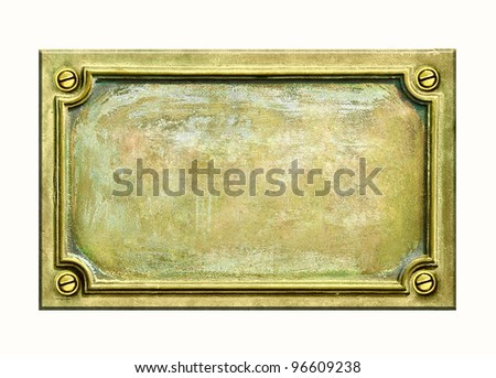 Metal sign plate with frame and grunge texture for your text. Brass antique plaque with cracks and scratches on golden surface.