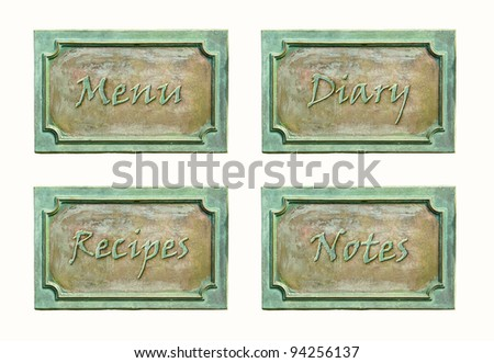 Metal sign plates with text and frame for your design. Bronze metal plaque with screw bolts. Design elements for signboard cover: notes, diary, menu and recipes.