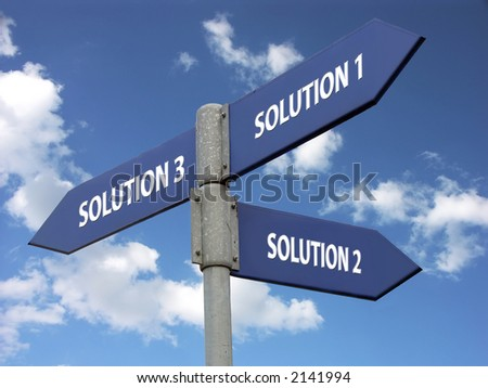Metal signpost indicating three solutions against blue sky