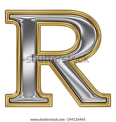 Metal silver and gold alphabet letter symbol - R
