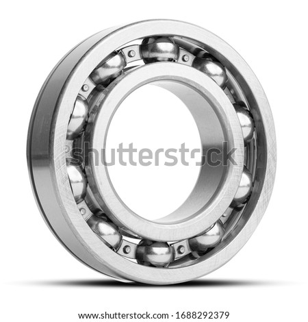 Metal silver ball bearing with balls on white  isolated background. Bearing industrial. Part of the car Сток-фото ©