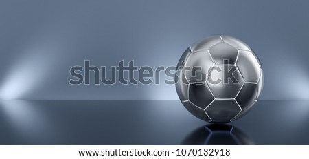 Metal soccer ball on a mirror blue background. 3d render illustration.