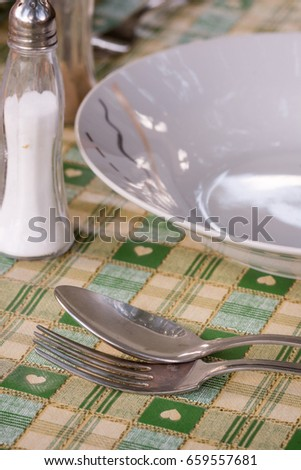 Metal spoon and fork beside plate on the served table. #659557681