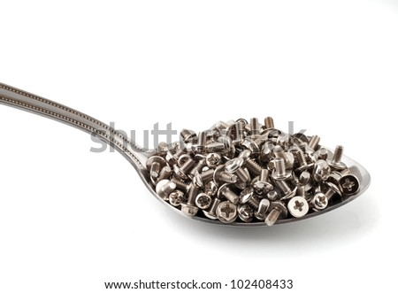 Metal spoon full of brilliant metal screws