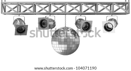 Metal Spotlights and Disco Ball on Stage isolated on white background