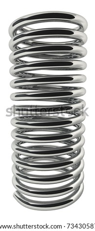 Metal spring isolated on white background.