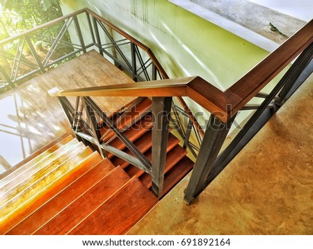 metal staircase railing with...