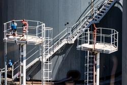 Metal stairs on grain elevator