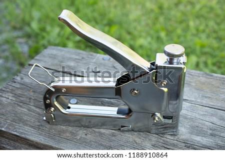 Metal stapler outside