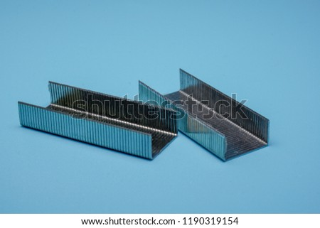 Metal staples for stapler , closeup isolated,