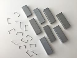 Metal staples for stapler isolated on white background