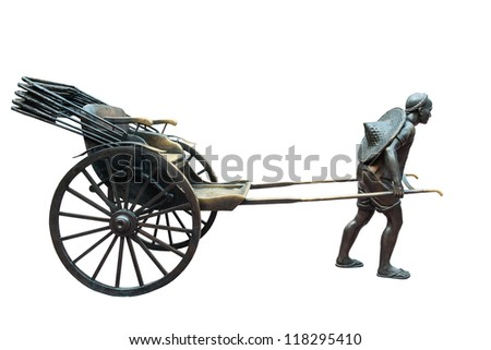 Metal statue of old human taxi in bangkok, Thailand, isolated in white