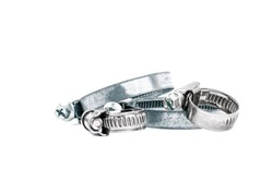 Metal, steel clamps for use in any industry on the isolated white background