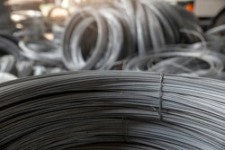 Metal Steel wire Rolls in construction site.Closeup of Stainless Steel reinforced rod for concrete in store.Construction Concept.