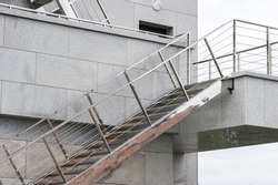 metal steps on the building