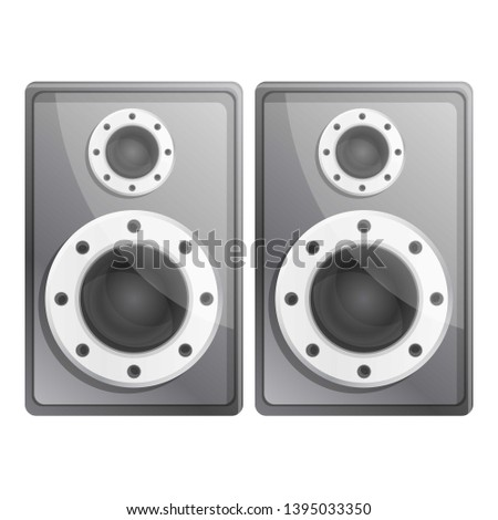 Metal stereo speakers icon. Cartoon of metal stereo speakers icon for web design isolated on white background