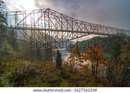 Metal structural bridge spanning the Columbia River between Washington and Oregon