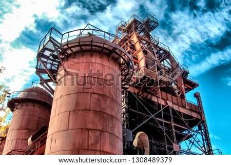 Metal structures and pipes of the plant, industrial landscape, single-industry industry. #1308489379