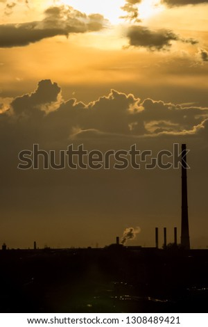 Metal structures and pipes of the plant, industrial landscape, single-industry industry. #1308489421